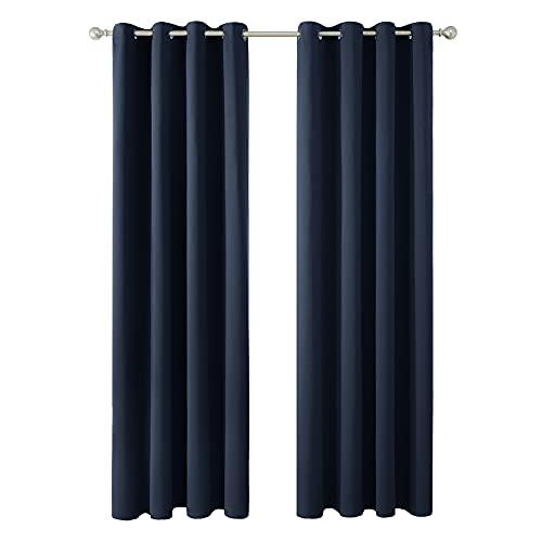 Amazon Brand - Umi Tende Oscuranti Termiche Isolanti con Occhielli per Casa Moderne 140x290cm Blu Navy 2 Pezzi