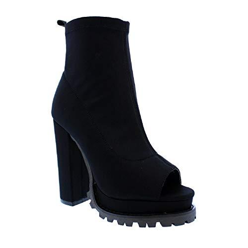 Liliana Women Fashionable Peep Open Toe Cutout Chunky Heel Bootie (11, MonclairBlack)