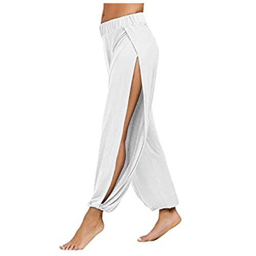 Pantalon Femmes Couleur Unie Split Exercice Haute Stretch Running Yoga Loisirs (XL,Blanc)
