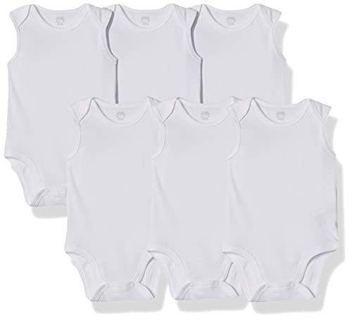 Amazon Essentials - Pack de 6 bodis sin mangas para bebé, Blanco sólido, Bebé prematuro