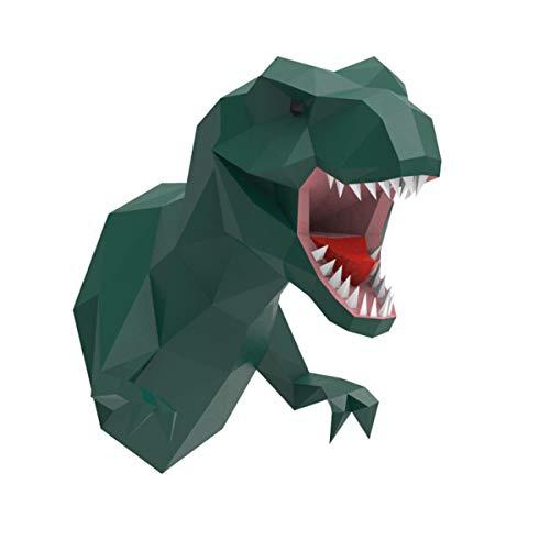 T-Rex Papercraft 3D Head, ENDARK DIY Papercraft Tete Animaux Mural 3D Decoration Murale Tyrannosaurus Rex Papercraft Papier (Green)