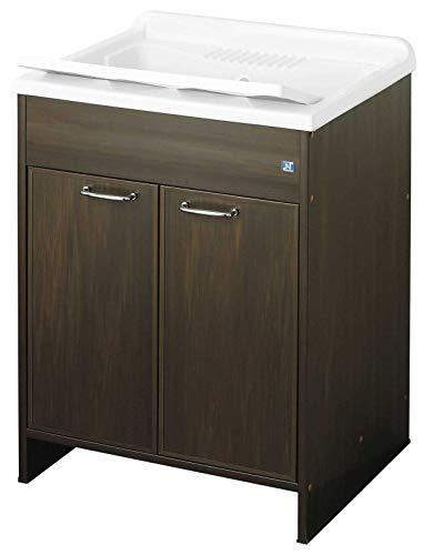 Negrari 9002KW - Lavadero de resina, bañera y eje blanco/mueble y puertas wengué, L60P50H85 cm