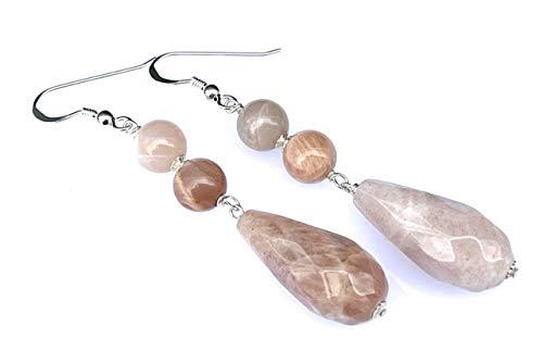 Pendientes de plata 925 y piedra de sol, pendientes largos colgantes, joyas de piedras naturales, regalo para mujer
