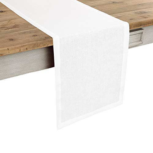 Solino Home 100% Pure Linen Table Runner – 14 x 36 Inch Athena, Handcrafted from European Flax, Natural Fabric Runner – White