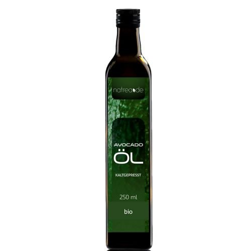 Natrea Avocadoöl 🥑 kaltgepresst ✅ 100% reines BIO-Öl ✅ in 250 ml Lichtschutzflasche (1 x 0,25 l) ✅