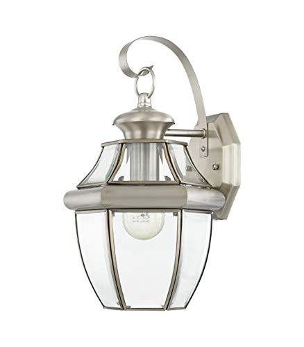 Livex Lighting 2151-91 Monterey 1 Light Outdoor Brushed Nickel Finish Solid Brass Wall Lantern with Clear Beveled Glass