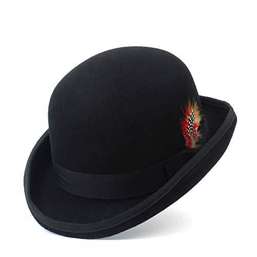ZHANGJINPING Moda de Invierno de Lana Sombrero de Hongo Fedora Sombreros for Hombres 100% Lana Sombrero Derby cúpula de los Hombres chapeu Casquette Hueso Gorro touca (Color : Black, Size : 57cm)