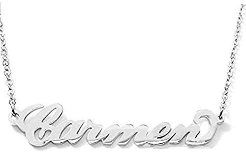 Flowers - Collar de acero pulido con nombre, estilo Carrie Bradshaw de Sexo en Nueva York, máxima elegancia, ideal como regalo Carmen