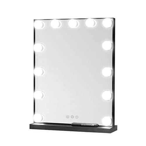 Miroir Maquillage Lumineux Miroir de maquillage Hollywood éclairé avec 13 ampoules à intensité variable | Miroir de rasage de salle de bain | Miroir cosmétique | Touch Control | Noir