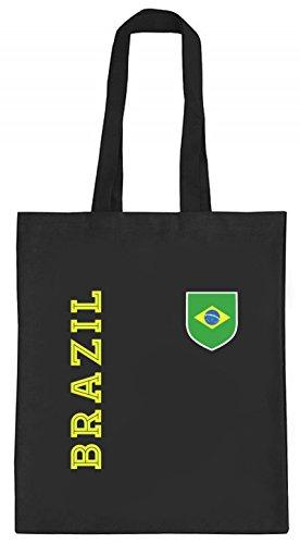 Brasil Brasilien Fußball WM Fanshirt Gruppen natur Jutebeutel Stoffbeutel Tote Bag Fan Trikot Brazil, Größe: onesize,schwarz natur