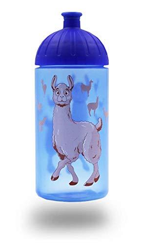 ISYbe Original Marken-Trink-Flasche für Klein-Kinder, 500 ml, BPA-frei, Lama-Motiv für Jungen, für Schule-Reisen-Kita-Kiga-Outdoor geeignet, Auslaufsicher auch mit Sprudel, Spülmaschine-fest