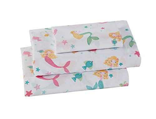 Luxury Home Collection Girls/Teens 4 Piece Queen Size Sheet Set Mermaid Under The Sea Star Fish Sea Horse Pink White Blue Green Yellow
