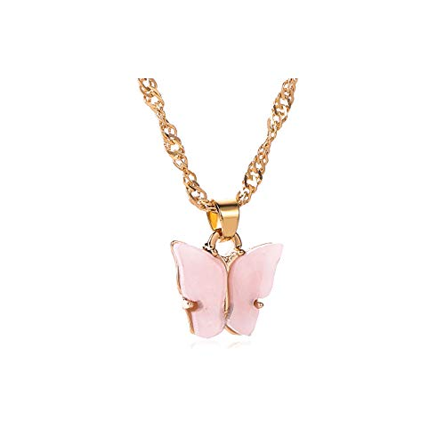Jeni-Sely Multi-color Acrylic Butterfly Cute Animal Pendant Necklace(pink)