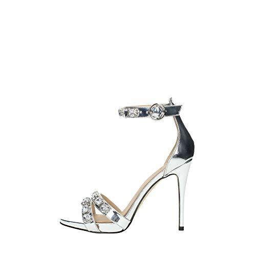Guess Sandalo con Tacco Allacciato Silver e Strass (38 EU)