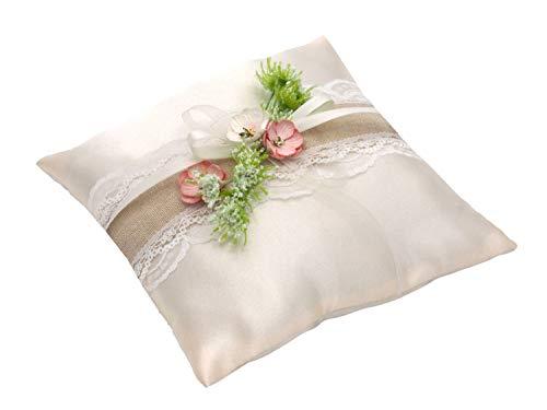 ZauberDeko Ringkissen Creme Rosa Hochzeit Spitze Vintage Blumen Traukissen Ringe