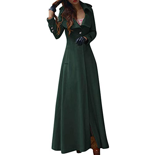 MERICAL Donna Inverno Risvolto Slim Trench Coat Long Jacket Parka Cappotto Outwear(Verde,L)