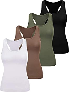 4-Pack Geyoga Women's Basic Workout Crop Tank Tops (Small)
