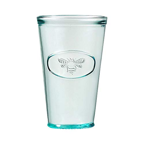 Amici Home Bee Relief Hiball Drinking Glass, Recycled Green Glass Drinkware, Italian Made, 16 Fluid Ounce Capacity Each, Set of 6
