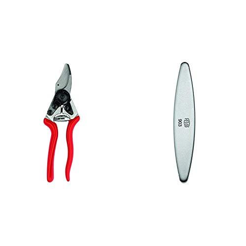 Felco 16 Baum, Reb und Gartenschere, Linkshänder, rot & 154261 903 Schleifstein, Wetzstein mit Diamant-Beschichtung, für Messer der Gartenscheren geeignet-903, grau Länge 100mm