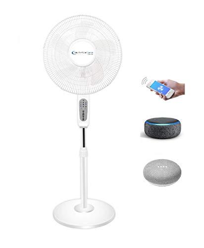 Technical Pro FXA16W WIFI habilitado ventilador pedastal de 16 pulgadas de pie con función oscilante y compatible con Amazon Alexa / Google Home Control de voz Smart Home 2.4G solamente, color blanco