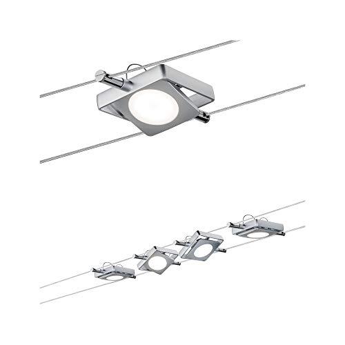 Paulmann 941.07 Seilsystem MacLED Set erweiterbar Warmweiß 4x4W LED Chrom matt 94107 Seilleuchte Hängeleuchte
