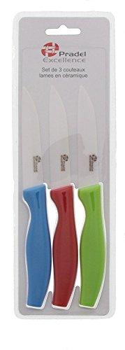 Pradel Excellence - CS001-3 - Set de 3 Couteaux Office, Lames en céramique