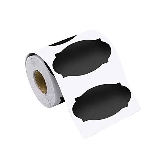 AODOOR 120 etiquetas autoadhesivas pizarras en negro mate, pegatinas reescribibles, etiquetas de cristal, impermeables, autoadhesivas, para cocina tarros de especias, pegatinas para escribir, 6 x 3 cm