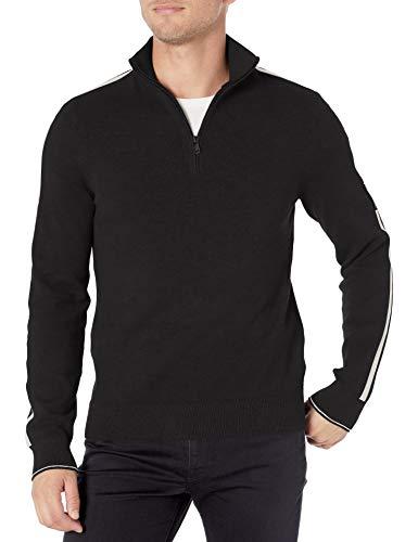 Calvin Klein Men's Classic Quarter Zip Sweater, Black Marshmallow, Medium