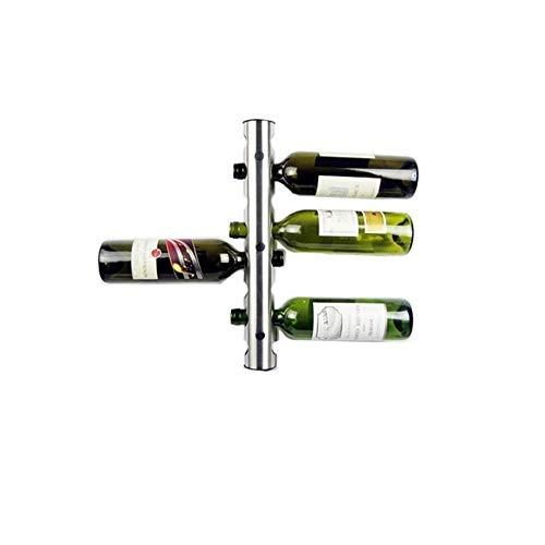 Dniu Soporte de pared para botellas de vino de acero inoxidable para colgar en la pared, para 8 botellas de vino tinto, champán.