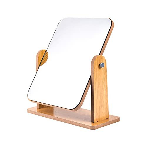 Espejo de maquillaje con soporte de madera natural, rotación de 8 pulgadas 360° portátil, mesa de escritorio, encimera, espejo de baño