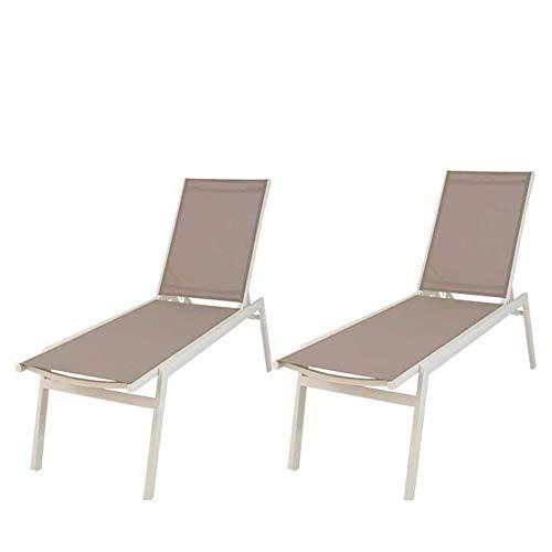Edenjardi Pack 2 tumbonas Piscina reclinables, Tamaño: 195x55x50 cm, Aluminio Blanco y textilene taupé