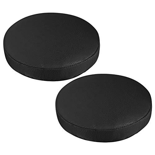 VOSAREA - Juego de 2 fundas para taburete de bar redondas, funda de asiento de silla de muebles, extensibles, protectores extensibles, color negro