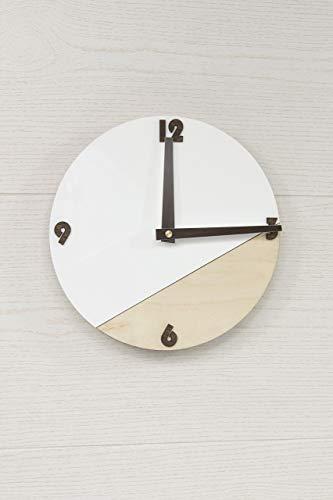 Moderne Wanduhr - Weiße Wanduhr - Runde Wanduhr - Hölzerne Wanduhr - Organische Glas Uhr - Skandinavische Uhr - Büro Uhr