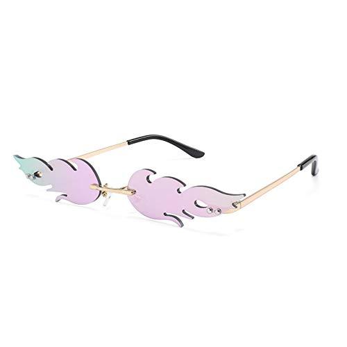 JJCDKL Gafas de Sol de Llama de Fuego a la Moda para Mujer, Gafas de Sol de Onda sin Montura, Gafas de Metal para Mujer, Gafas de Espejo UV400