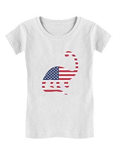 USA Dinosaur American Flag 4th of July Gift Girls' Fitted Kids T-Shirt M (7-8) White