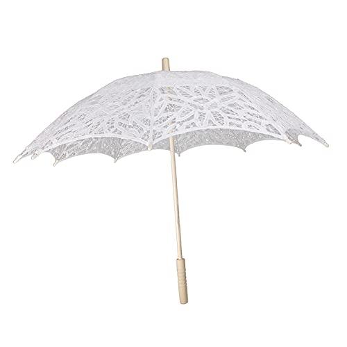 Generic Spitze Blumenmädchen Sonnenschirm Hochzeit Party-Braut Regenschirm Holz Weiß