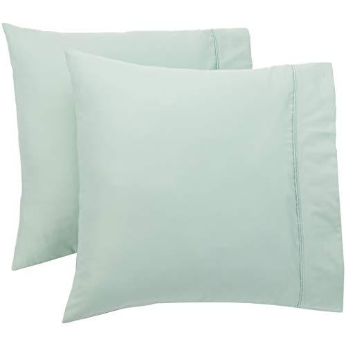 Amazon Basics Taie(s) d'oreiller 400 fils, Lot de 2, 65 x 65 cm - Vert d'eau