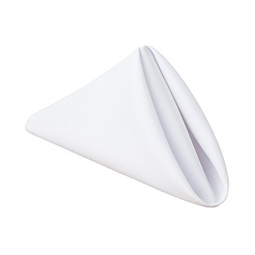 Gee Di Moda Cloth Napkins - 17 x 17 Inch White Solid Washable Polyester Dinner Napkins - Set of 12 Napkins with Hemmed Edges - Great for Weddings, Parties, Holiday Dinner & More