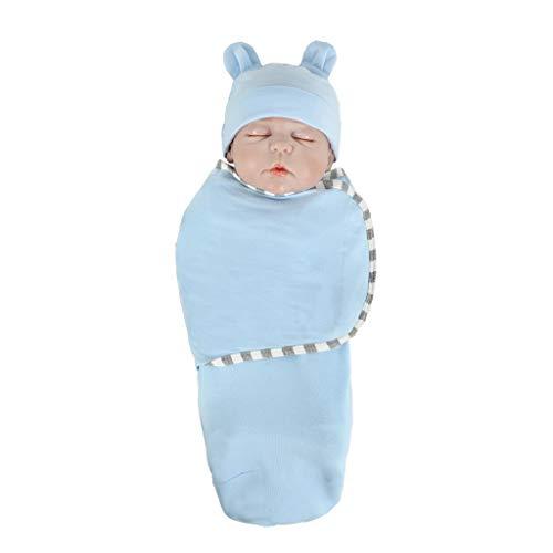 Huhu833 Ganzjahres Baby Schlafsack, Neugeborenes Baby Baumwolle Wickeln Swaddle Sack Weiche Schlafdecke Herbst Winter Swaddle Pucksack + Hut Set (blau)