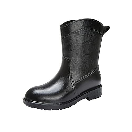 FFENYAN Rainboots for Women Low Heel Non-Slip Jelly Color Mid Boots Round Toe Waterproof Rubber Shoes Footwear Garden Shoes Black