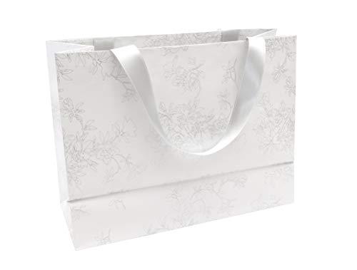 Clairefontaine 223760C - Un sac papier cadeau shopping Premium Blanc 32x13x24,5 cm, Fleurs