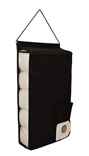 Portarrollos de papel higiénico colgante grande organizador de almacenamiento dispensador de tela de baño (negro)
