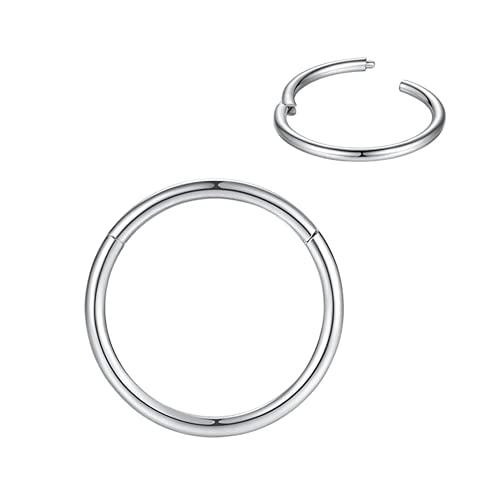 limerencia G23 titanium hinge nose ring hoop 18G 16G, diameter 6mm-8mm-10mm-12mm, gold-rose gold-silver-black (Silver, 1 pcs 18g Diameter:10mm)