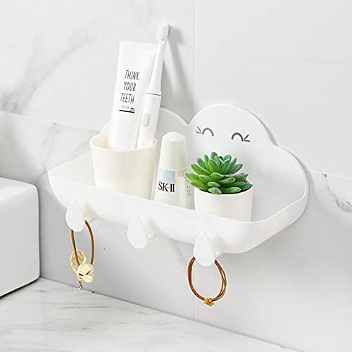 Cute Clouds Cuarto de baño Estante montado en la Pared Soporte para champú Rack Organizador Toalla Llave Colgador Estantes de Ducha Estante de baño-Blanco