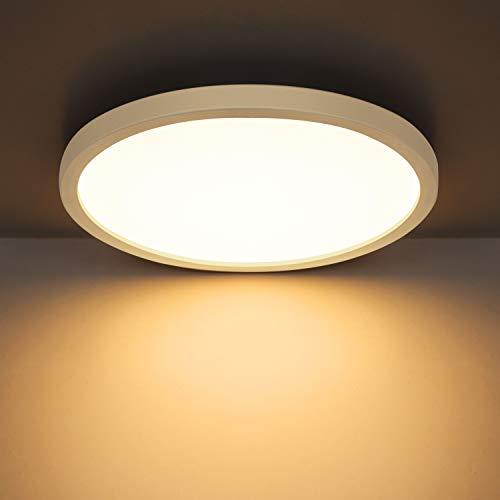 Combuh Deckenleuchte LED 24W 2160LM Slim Deckenlampe für Kinderzimmer, Badezimmer, Küche, Balkon,Flur Warmweiß 3000K Rund Ø23cm