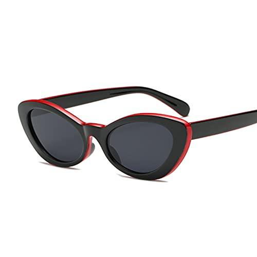 Gafas de Sol Pequeñas Gafas de Sol ovaladas Mujeres Gato Ojos Diseñador Vintage Retro Cateye Cateye Frame Tiny Sun Gafas Sombras Femeninas Gafas de Sol (Lenses Color : Red Black)
