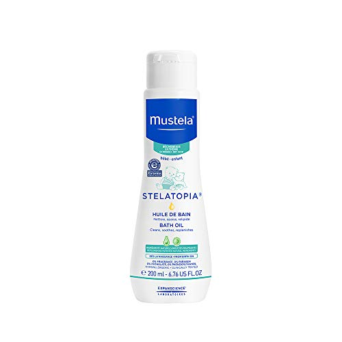 Mustela Stelatopia Bath Oil, Baby Bath Oil, for Eczema-Prone Skin, with Natural Avocado Oil, 6.7 Ounce