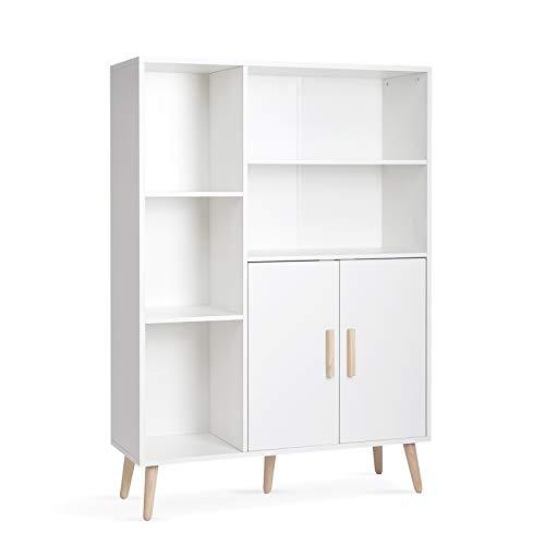 Meerveil Sideboard, Kommode mit 2 Türen und 5 Fächern Verstellbare Regalebene Holz für Wohnzimmer Schlafzimmer Küche, 85 x 30 x 120 cm, Weiß