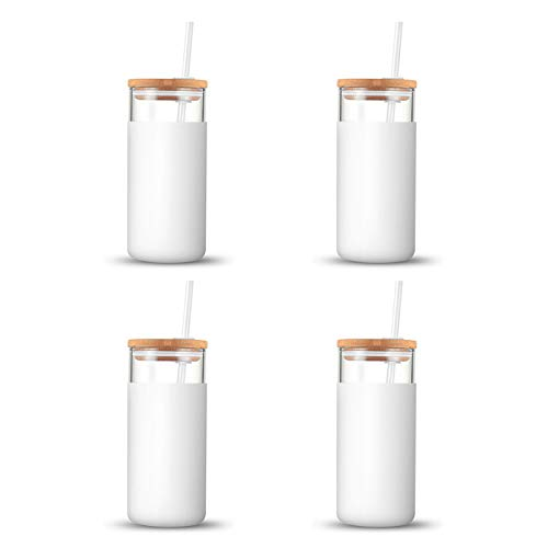Tronco 20oz Glass Tumbler Straw Silicone Protective Sleeve Bamboo Lid - BPA Free(White/4-Pack)