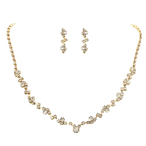Unicra Bride Crystal Necklace Earrings Set Bridal Wedding Jewelry Sets Rhinestone Choker Necklace Prom Costume Jewelry Set for Women and Girls (3 piece set - 2 earrings and 1 necklace) (Gold)